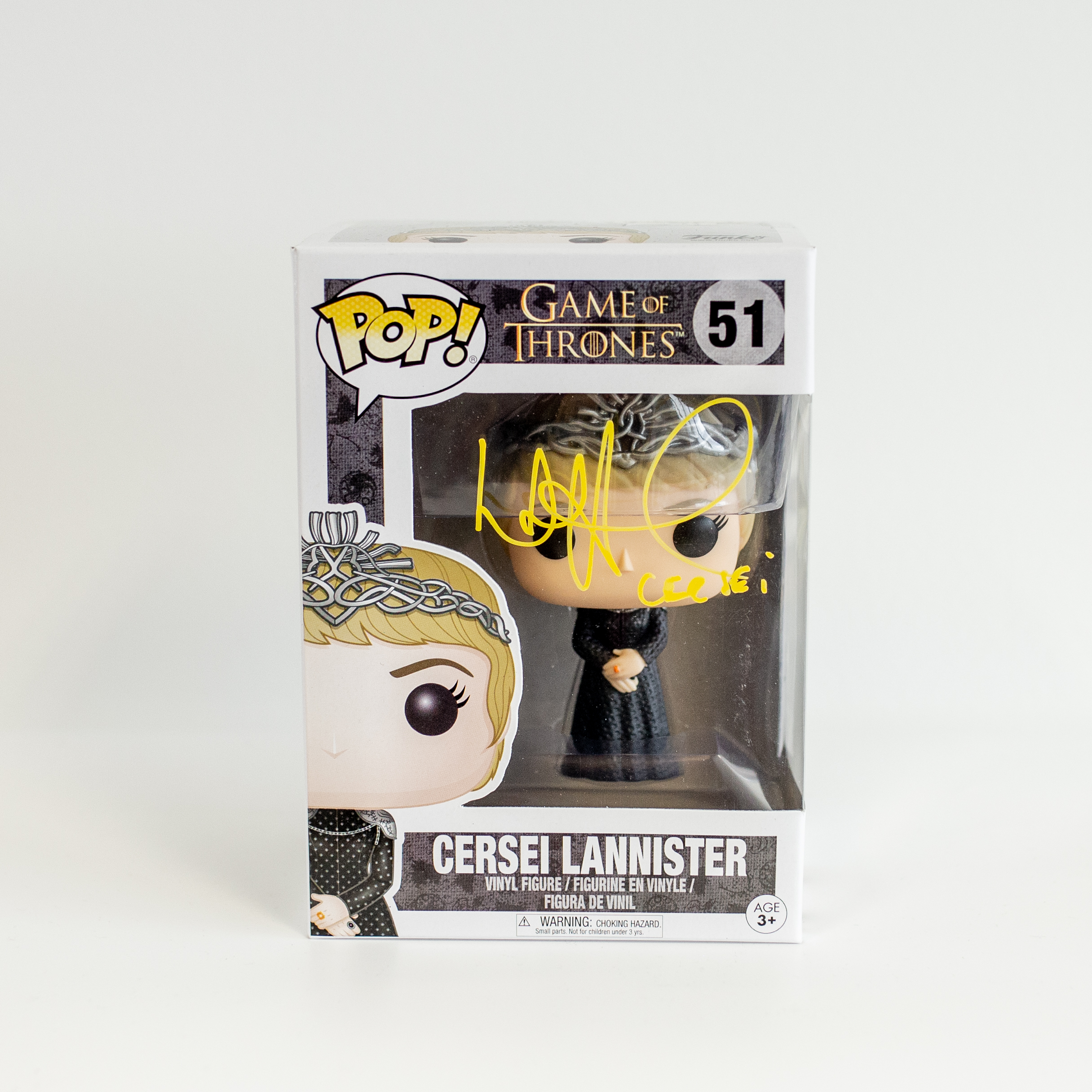 Lena Headey Original Autogramm auf Funko POP! Game of Thrones - Cersei Lannister (Gelbe Signatur)