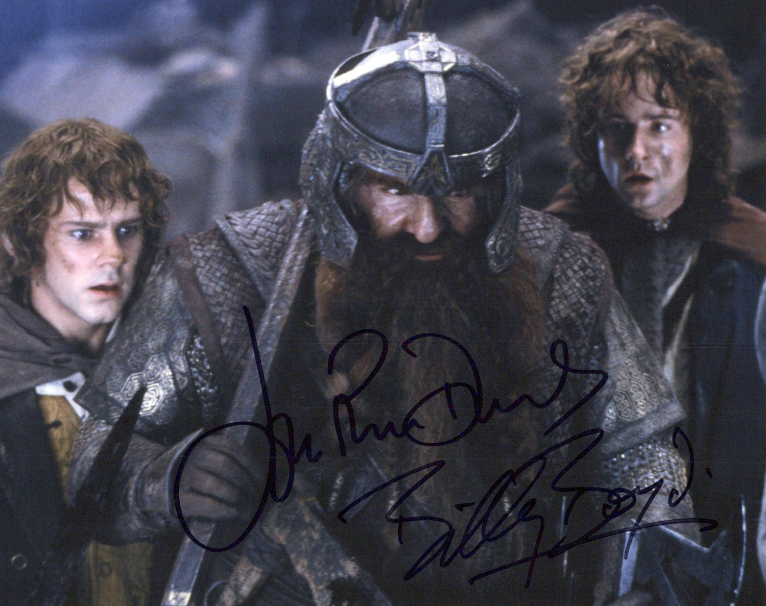 Billy Boyd & John Rhys Davies Original Autogramm auf Foto 20x25cm - Der Herr der Ringe/Lord of the Rings