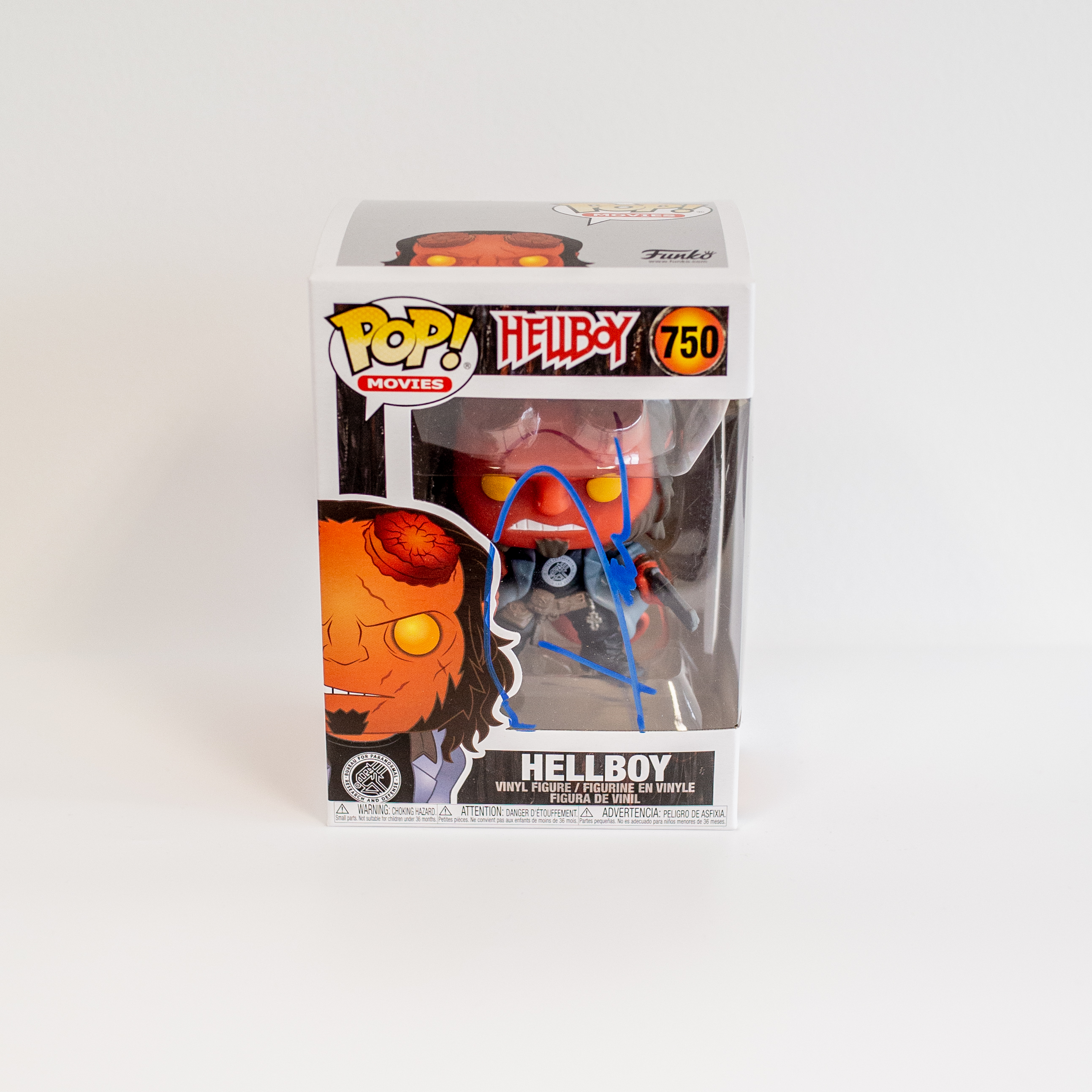 David Harbour Original Autogramm auf Funko POP! Hellboy - Hellboy   (Blaue Signatur)